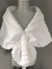 White Faux Fur MINK Cape Shrug Stole Bolero Jacket Shawl  Wrap Wedding Bridal