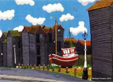 THE NET HUTS HASTING OLD TOWN 1 OPEN EDITION PRINT BY MICHAEL PRESTON