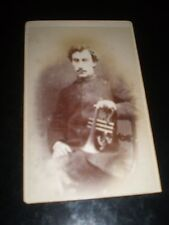 Cdv old photograph bandsman bugle by Nott at Cheltenham c1880s