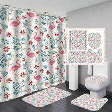 Pink Flamingo Pattern Shower Curtain BathMat Toilet Cover Rug Bathroom Decor