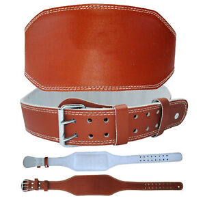 """Weight Lifting Leather Belt 6"""" Cowhide Dipping Back Support Training Fitness"""