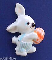 Hallmark PIN Easter Vintage BUNNY RABBIT BOY Overalls EGG Holiday 70s RARE C