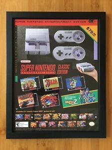 SNES Super Nintendo Classic Edition Mini Console Framed Print Ad/Poster Star Fox