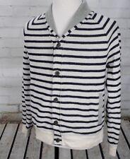 Banana Republic Shawl Collar Cardigan Sweater Men's L Blue White Stripe Gray