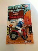 Vintage 1982 Galoob Wind Up Smurf Runabout Smurfs On Card 4002 (A005)