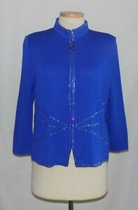 St John Blue Santana Knit w/Embellished Design Trim Mock-Neck Full-Zip Jacket 16