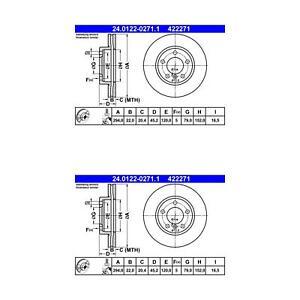 Mini Cooper Countryman ATE Front Disc Brake Rotors 2 422271 34119811537