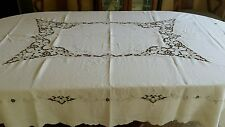 Madeira Embroidered Grape Leaf and Clusters Linen Table Cloth and Napkins