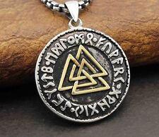 Mens Valknut Warrior's Knot Valkyrie Viking Rune Runic Pendant Necklace