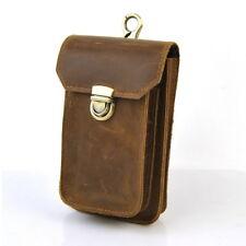Men Retro Genuine Leather Fanny Belt Loop Hook Waist Pack Mobile Cellphone Bag