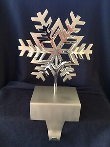 Crate And Barrel Double Snowflake Stocking Hanger Holder Hook Silver Christmas