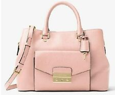 NWT Michael Kors Haley Large Pebble Leather Satchel  Blossom Pink MSRP $448