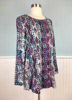 Size Small Pure J Jill Jewel Tone Aztec Print Tunic Top Blouse Shirt Women's S