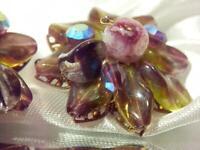 FAB Vintage 1960's Cluster Art Glass Flower Clip Earrings   322A9