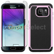 Hybrid Rubber Case+LCD Screen Protector for Android Phone Samsung Galaxy S7 Pink