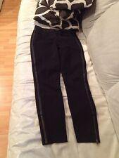 J. Crew Black Slimming Stretchy Leather Trim Skinny Pants Size 6