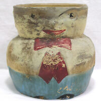 Vtg Primitive Yellow Ware Humpty Dumpty Jar Marked USA Stoneware