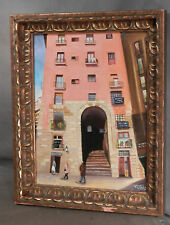 Vintage Modern Italian Oil Painting Carved Gilt Wood Gesso Florentine V Cotillo