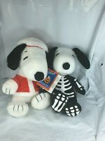 Snoopy Plush Set Hallmark Peanuts Christmas Santa Suit & halloween Bones plush