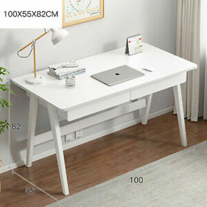 Home Office Computer Desk w/ 2 Drawers Wooden Desktop Table PC Study Workstation