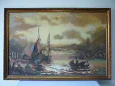 Large original oil painting of masted ships and figures signed