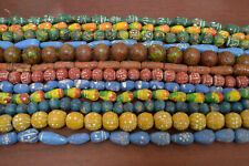 12 STRANDS ASSORTED CLAY BEADS JEWELRY MAKING CRAFTS ROUND SQUARE