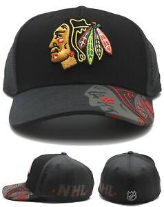 Chicago Blackhawks New Reebok Playoff Gray Black Center Ice Flex Fit Era Hat Cap