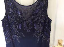 BEADED/SEQUIN SHORT LENGTH EVENING DRESS BLUE SIZE 18 BNWT