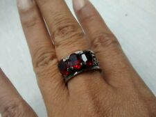 Stunning Vintage CiNi sterling 925 3 red stone ornate ring size 8