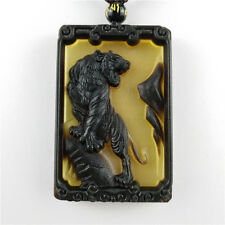 Collectibles Hand Carving Ox Horn Mens Pendant Necklace Lucky Tiger Amulet Hot