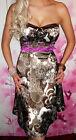 JANE NORMAN ♥exquise♥ robe bustier satin ivoire/café♥taille UK 10 soit 38