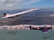 CONCORDE FLYING WITH A SPITFIRE OVER WHITE CLIFFS OF DOVER  £45 16X12 SIGNED NEW