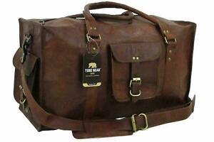 Vintage Men Genuine Leather travel Roomy duffle weekend bag lightweight luggage