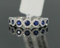 0.50Ct Round Cut Blue Sapphire Half Eternity Women Ring Band 14K White Gold Over
