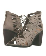 $90 New Very Volatile Anabelle Heeled 8Taupe Leather Women Zip Laces Chic Sandal