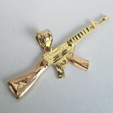 "14k yellow Gold AK-47 rifle Gun Pendant 1.5"" wide"