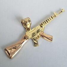"""14k yellow Gold AK-47 rifle Gun Pendant 1.5"""" wide"""