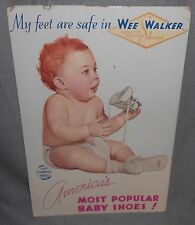 Vintage 1940s-50s Large WEE WALKER Baby Shoes CARDBOARD STAND UP Great Graphics!