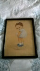 ANTIQUE HAND-PAINTED WATERCOLOUR OF LITTLE GIRL by J.A.W. 1918 framed