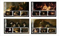 2017 REMBRANDT  ART PAINTINGS 8 SOUVENIR SHEETS MNH UNPERFORATED