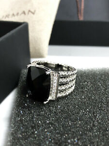David Yurman Sterling Silver Wheaton Ring with Black Onyx and Diamonds size 7