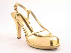 New NINA Women Gold Leather Mesh Dress Wedding Evening High Heel Slingback Shoe