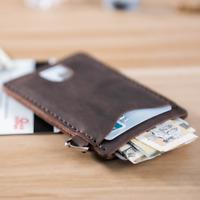 men women wallet purse cow Leather Card bag Case holder customize brown Z862