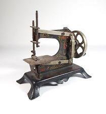 Antique Child's Toy German Hand Crank Cast Iron Decorated Sewing Machine