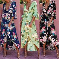Women Summer Vintage Boho Floral Long Maxi Dress Party Beach Dress Sundress S-XL