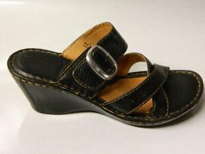 BORN W31570 Women's Sandals Shoes Slides Wedge Buckle Leather Black Sz 39/8 EUC