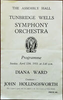 Tunbridge Wells Symphony Orchestra (Diana Ward) 12 April 1953 Vintage Programme