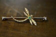 Pearl Dragonfly Pendant Brooch Pin 14k Yellow Gold Peridot &