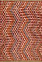 Geometric Hand-woven Kilim Oriental Area Rug Reversible Pastel Color Carpet 5x6