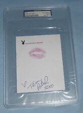 Tera Patrick Signed w/ Lip Print Kiss Hugh Hefner Playboy Stationary PSA/DNA COA